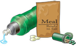 Water bottle, water purification tablets, ready-to-eat meal, and waterproof matches