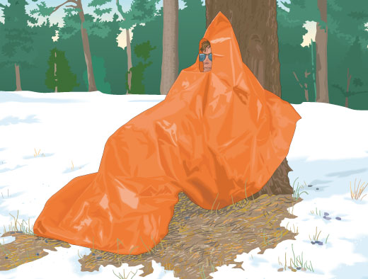 Hunter avoiding hypothermia by using a hypothermia emergency bag