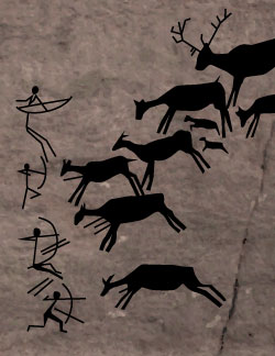 Cave drawings of primitive bowhunters