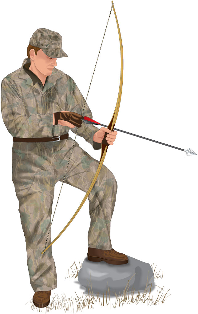 Bowhunter with bow and arrow