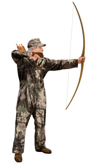 Bowhunter practicing