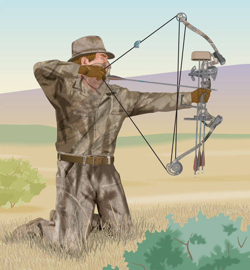 Bowhunter drawing a bow