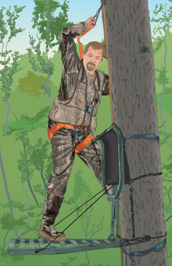 Hunter entering a tree stand
