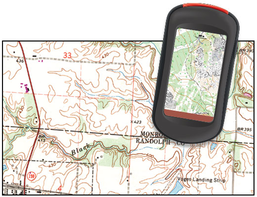 Topographic map and GPS