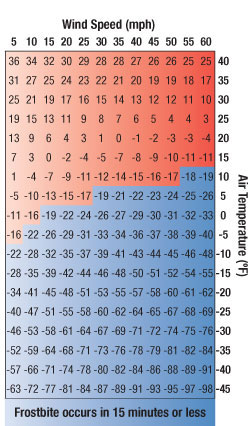 Wind chill factor chart