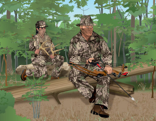 Bowhunters rattling antlers and wearing face coverings