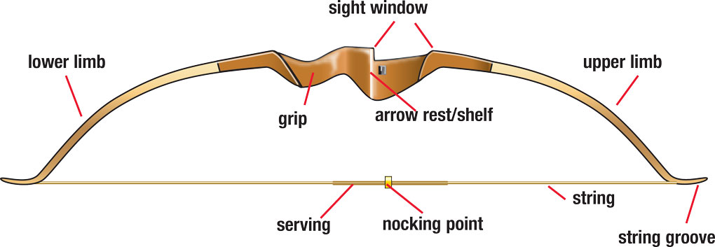 Recurve bow with parts labeled