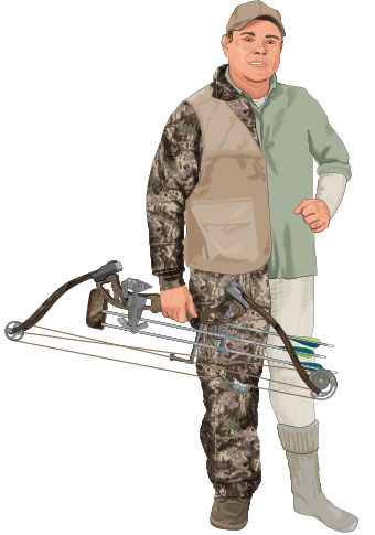 Bowhunter wearing layers of clothing