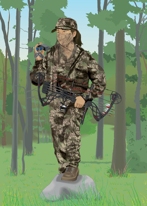 Bowhunter with binoculars