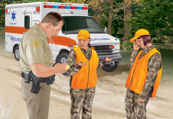 Officer speaking with hunters after a hunting incident