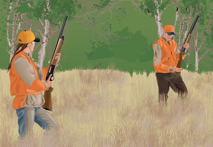 Hunters observing safe zones-of-fire