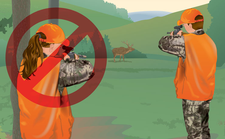 Unsafe shot: Both hunters aiming while one hunter is in front of the other