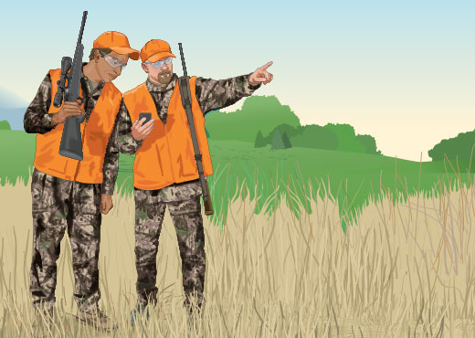 Hunters setting their course with a GPS